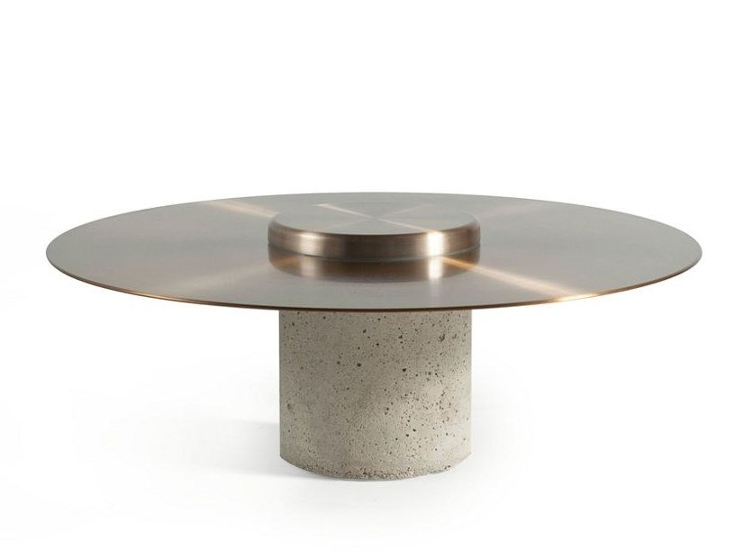 Low round aluminium coffee table CANOTIER | Round coffee table by ROCHE BOBOIS