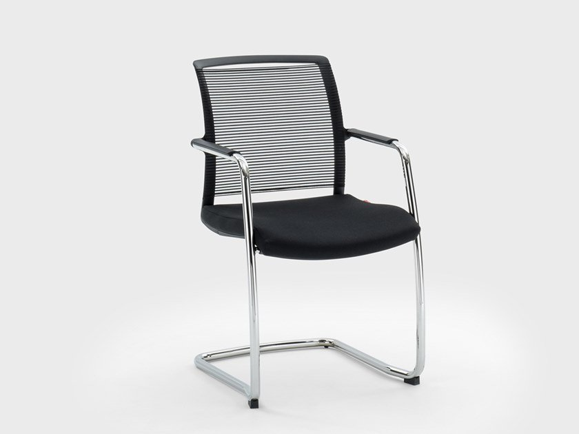 Cantilever fabric chair with armrests WINNER | Cantilever chair by Viganò