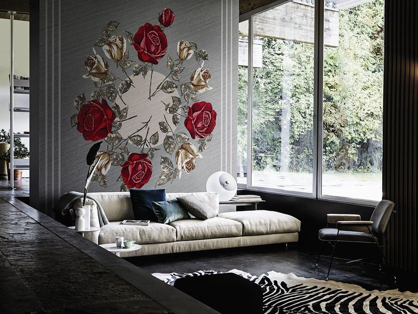 Wallpaper with floral pattern CANVAS BOUQUET by Wall&decò