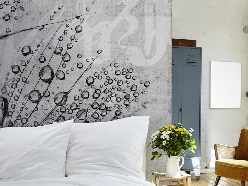Washable panoramic glass-fibre wallpaper CANVAS DROP by N.O.W. Edizioni