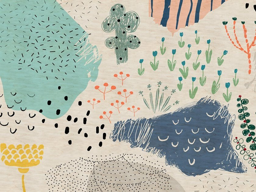 Digital printing wallpaper CRAYON GARDEN by Architects Paper