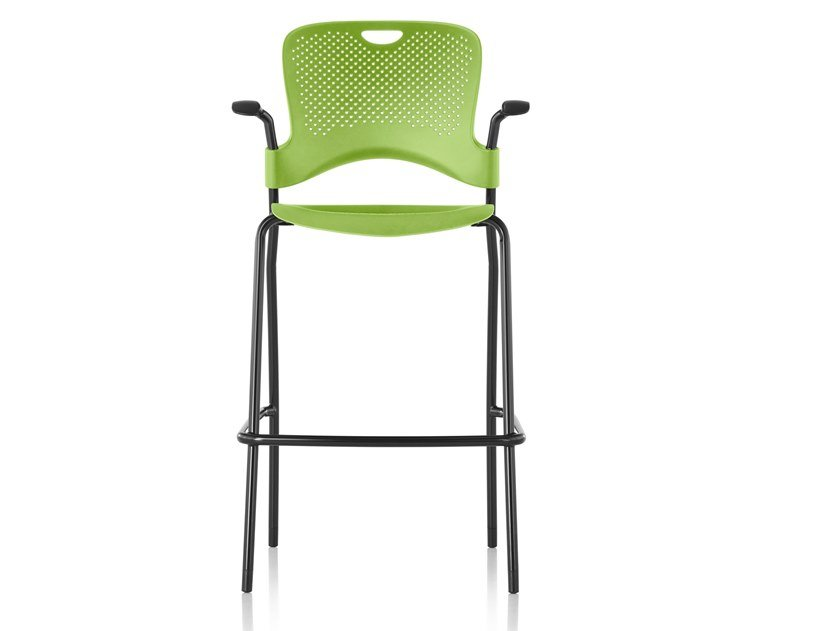 High stackable Nylon® stool with armrests CAPER | Stool with armrests by Herman Miller