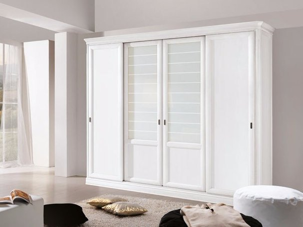 Solid wood wardrobe with sliding doors CAPRI | Lacquered wardrobe by Arvestyle