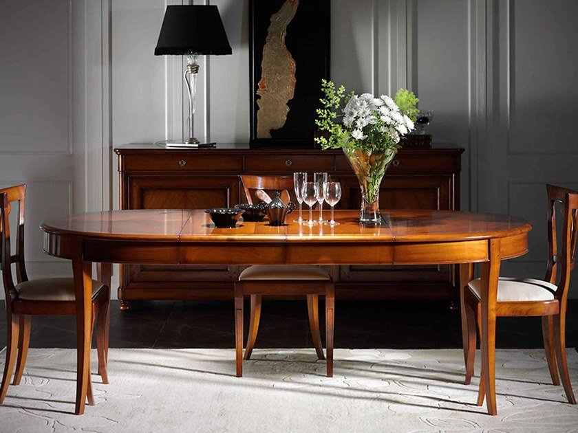 Extending oval cherry wood table CAPRICCI | Oval table by Prestige