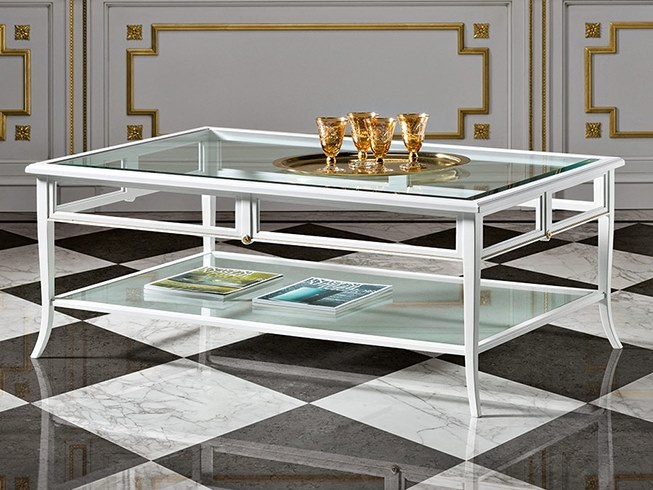 Wood and glass coffee table with integrated magazine rack CAPRICCI | Wood and glass coffee table by Prestige
