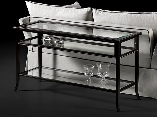 Rectangular wood and glass console table CAPRICCI | Wood and glass console table by Prestige
