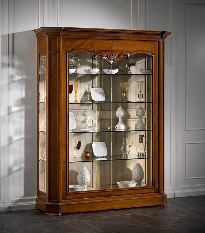 Wood and glass display cabinet CAPRICCI | Wood and glass display cabinet by Prestige