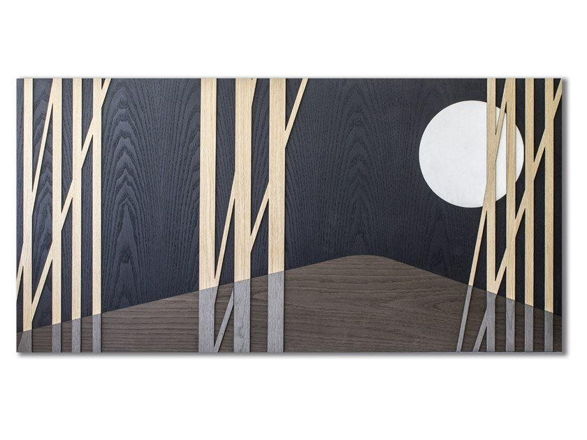 Three-dimensional decorative panel made of inlayed wood CAPRICCIO MOON by LIGNIS®