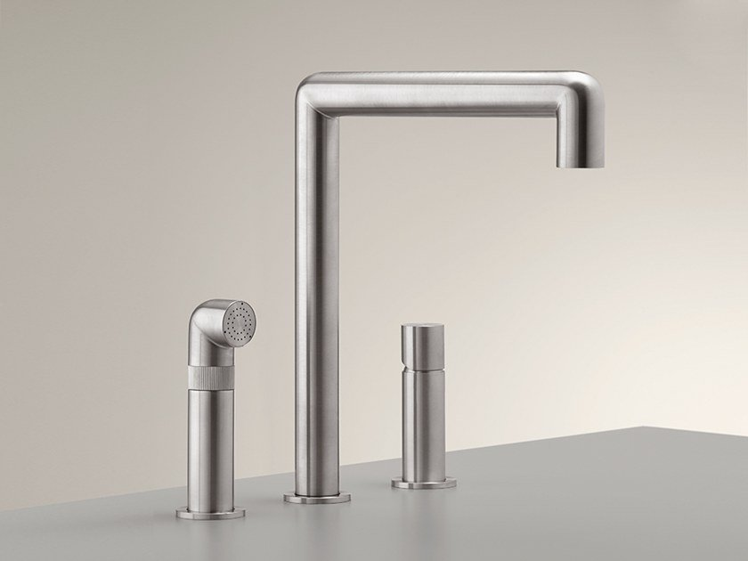 3 hole stainless steel kitchen mixer tap with pull out spray CAR 08 by Ceadesign