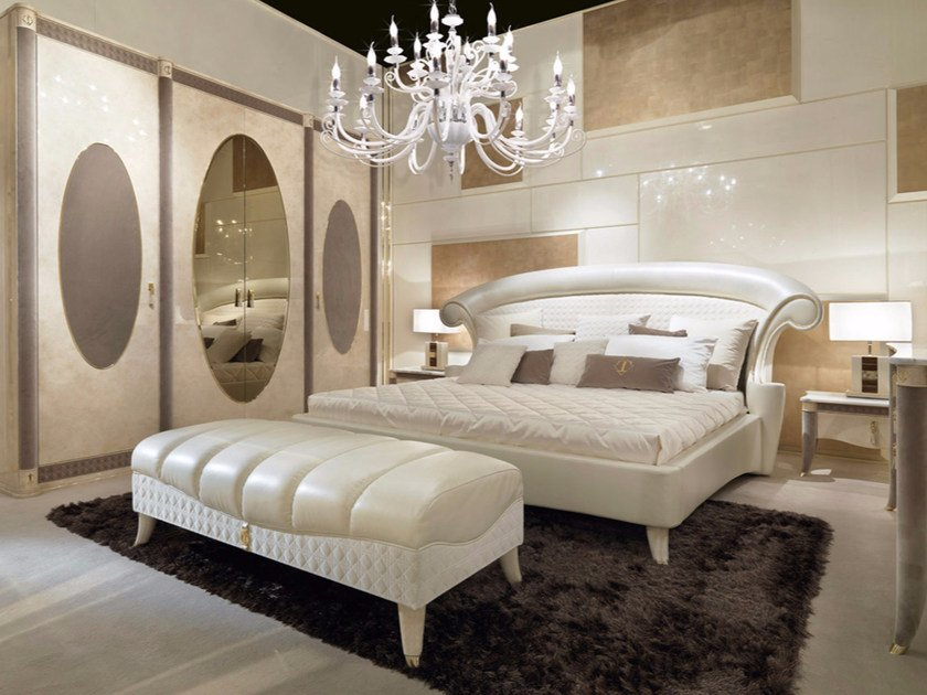 Leather double bed with upholstered headboard CARACTERE   Bed by Turri