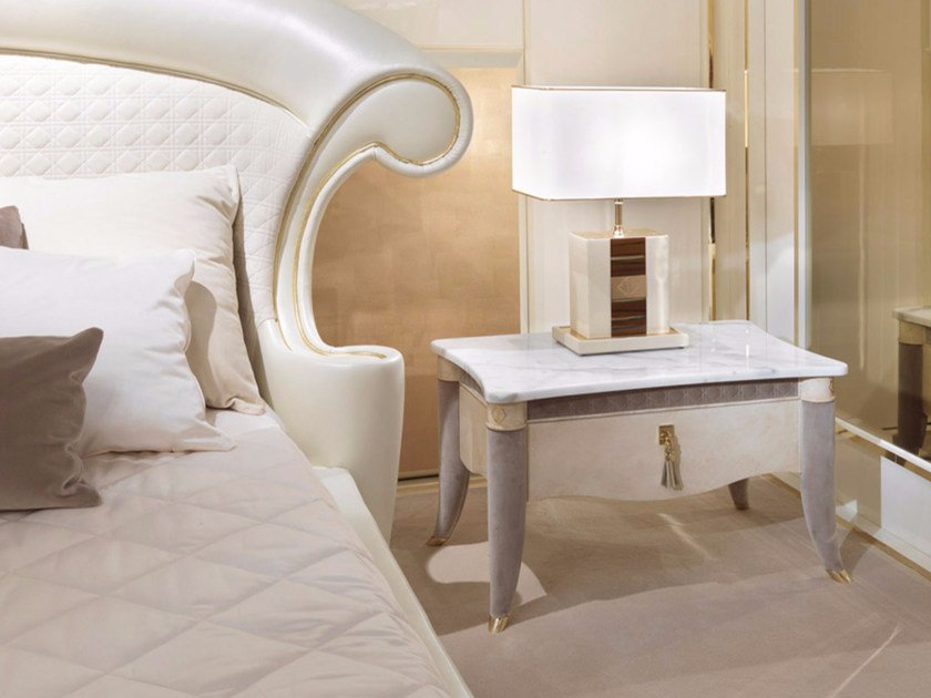 Rectangular marble bedside table with drawers CARACTERE | Bedside table by Turri