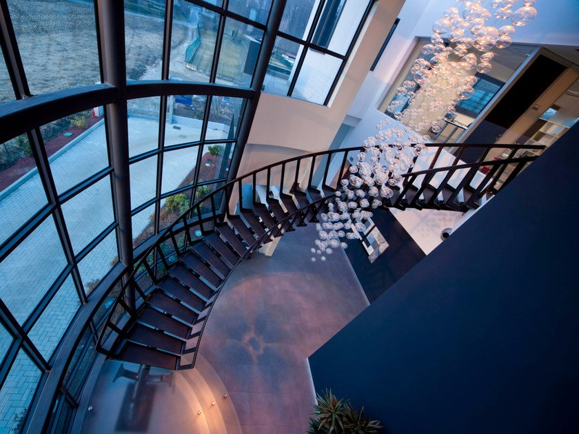 Helical metal Spiral staircase CARBON by Siller Treppen