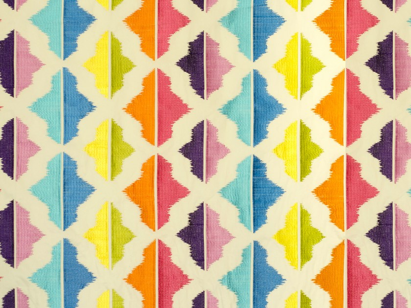 Multi-colored embroidered fabric CARIBBEAN ISLANDS by Aldeco