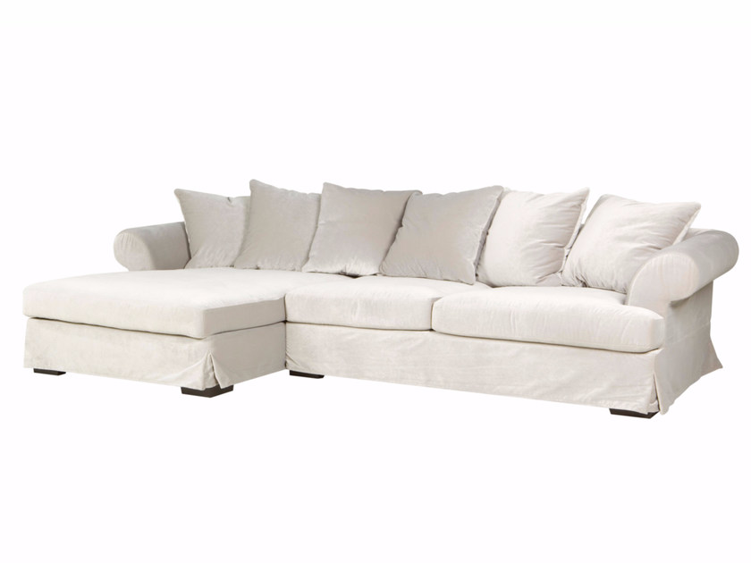 Upholstered 3 seater fabric sofa with chaise longue CARLOS | Sofa with chaise longue by SITS