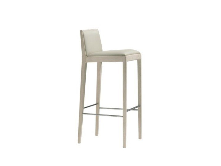 High upholstered leather stool CARLOTTA BQ0923 by Andreu World