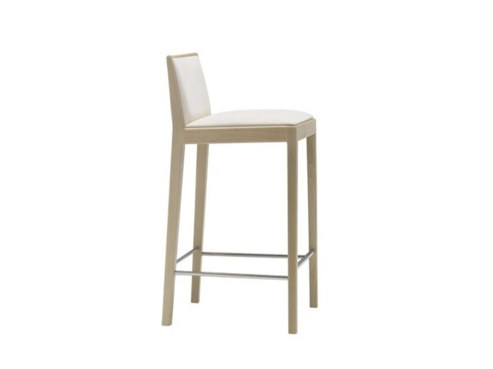 High upholstered leather stool CARLOTTA BQ0943 by Andreu World