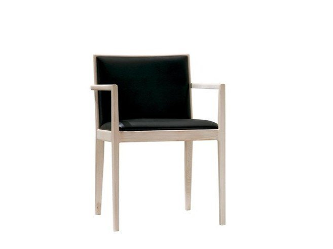 Upholstered leather chair with armrests CARLOTTA SO0916 | Leather chair by Andreu World
