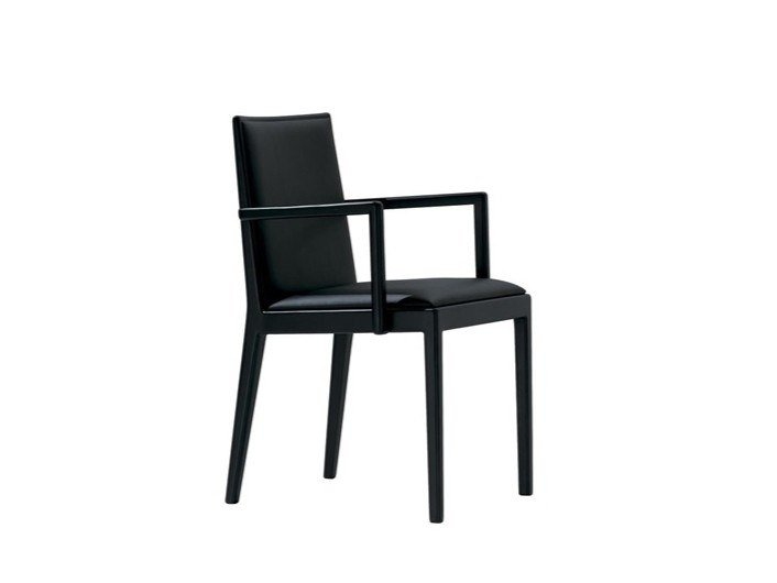 Upholstered leather chair with armrests CARLOTTA SO0992 by Andreu World
