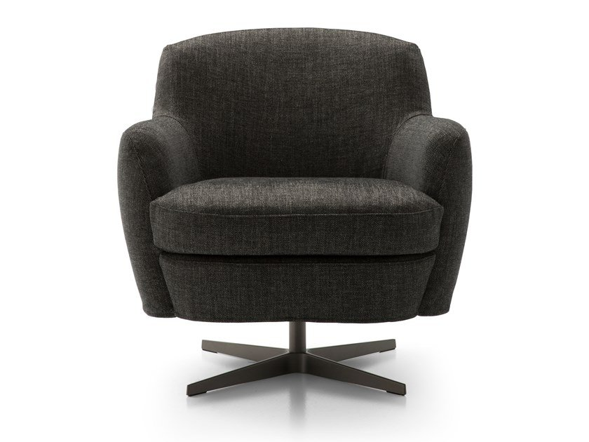 Swivel fabric armchair with 4-spoke base with armrests CAROL   Fabric armchair by Bodema