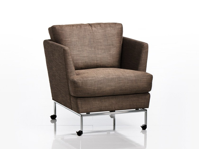 Fabric armchair with armrests with casters CAROUSEL | Armchair with casters by brühl