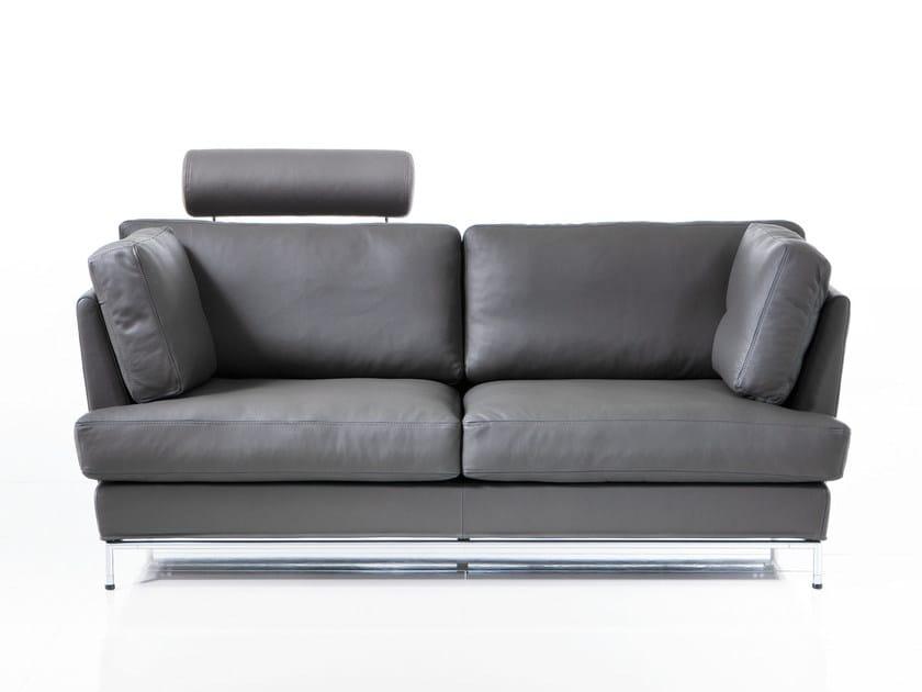 Leather sofa with headrest CAROUSEL   Leather sofa by brühl