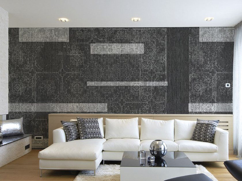 Damask waterproof wallpaper with textile effect CARPET by Tecnografica Italian Wallcoverings