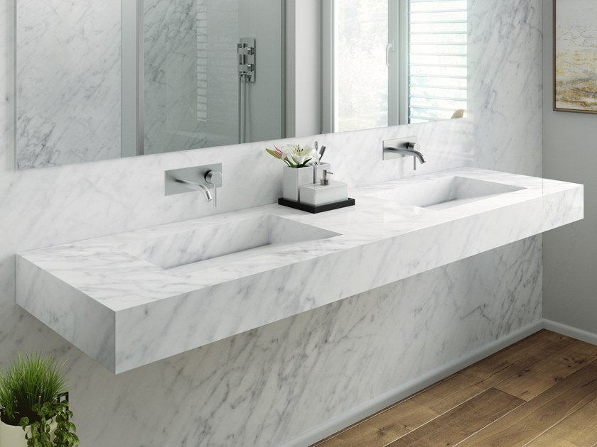 Double Carrara marble washbasin with integrated countertop
