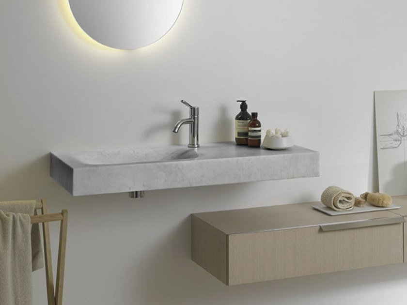 Rectangular Carrara marble washbasin 815 | Carrara marble washbasin by Agape
