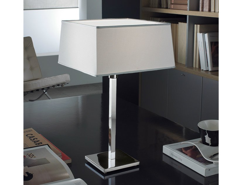 Chromed brass table lamp with fixed arm CARRÉ   Table lamp by PANZERI