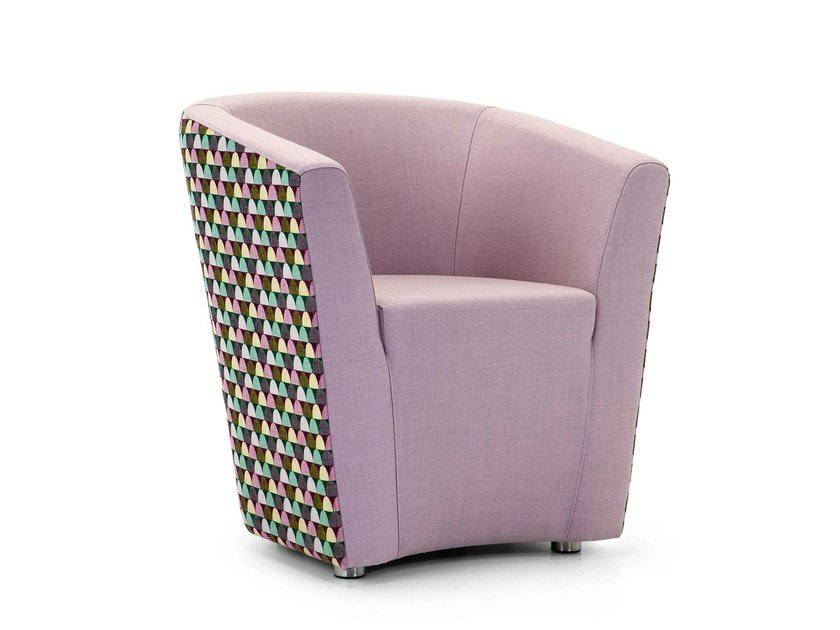 Upholstered guest chair with armrests CARVER | Armchair by Domingo Salotti