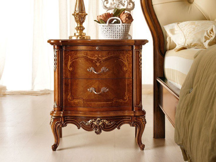 Walnut bedside table with drawers CASA PRINCIPE | Bedside table by Valderamobili