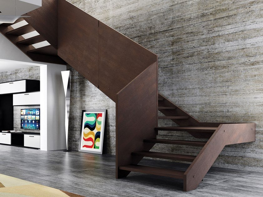 Wooden Open staircase with lateral stringers CASTLE by MOBIROLO