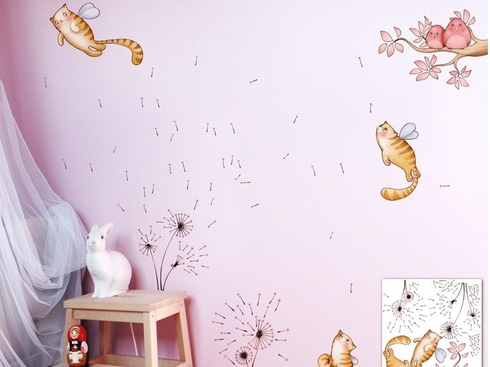 Kids wall sticker with floral pattern CATS AND FLOWERS by ACTE-DECO