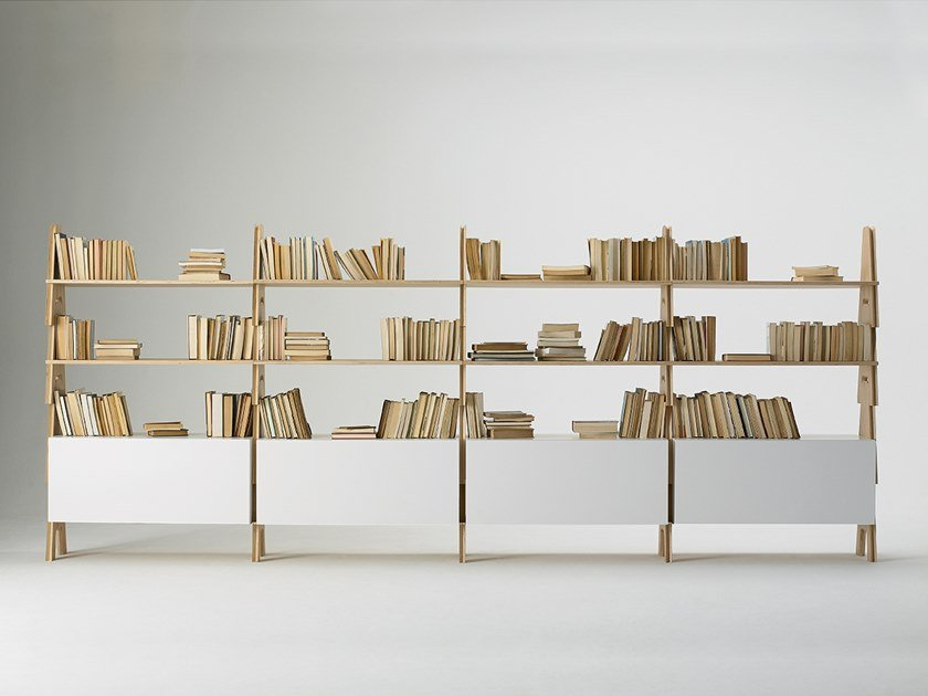 Open bookcase with MDF storage boxes CAVALLETTO - cm 415 x h155 by Agapecasa
