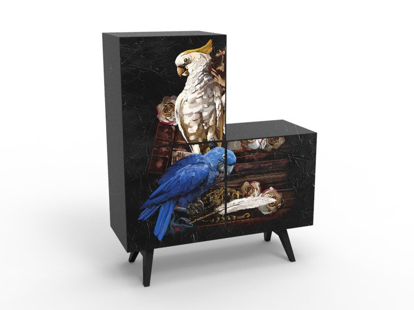 Melamine-faced chipboard highboard with doors CB-1203 by MOMENTI