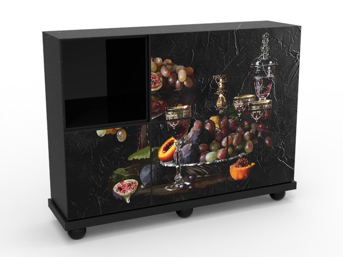 Melamine-faced chipboard highboard with doors CB-1807 by MOMENTI