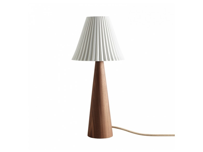 With swing arm walnut table lamp with dimmer CECIL CONE | Walnut table lamp by Original BTC