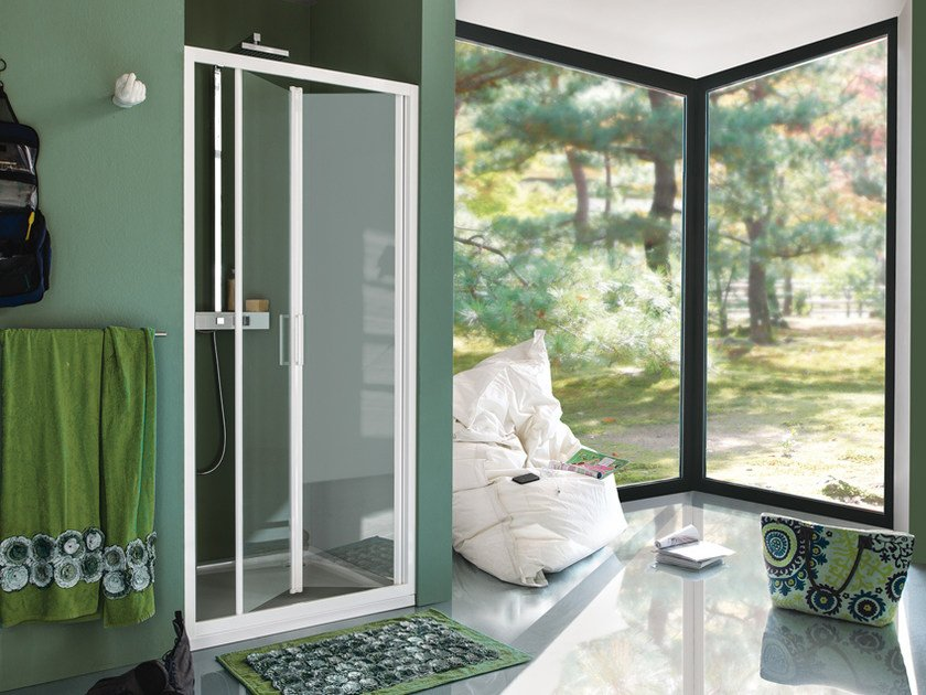 Niche tempered glass shower cabin with folding door CEE ART | Shower cabin with folding door by Samo