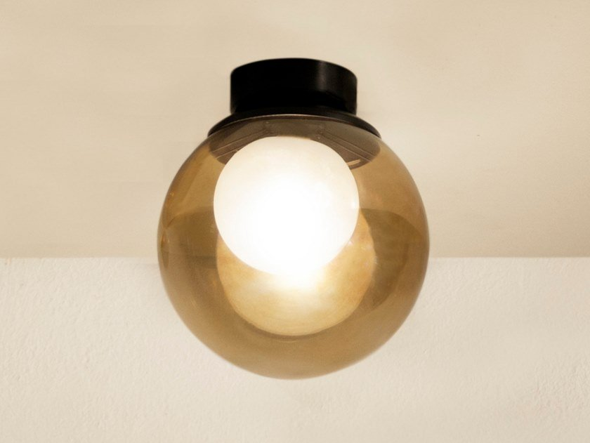 Metal and glass wall lamp / ceiling lamp POP C15 by Luz Difusión