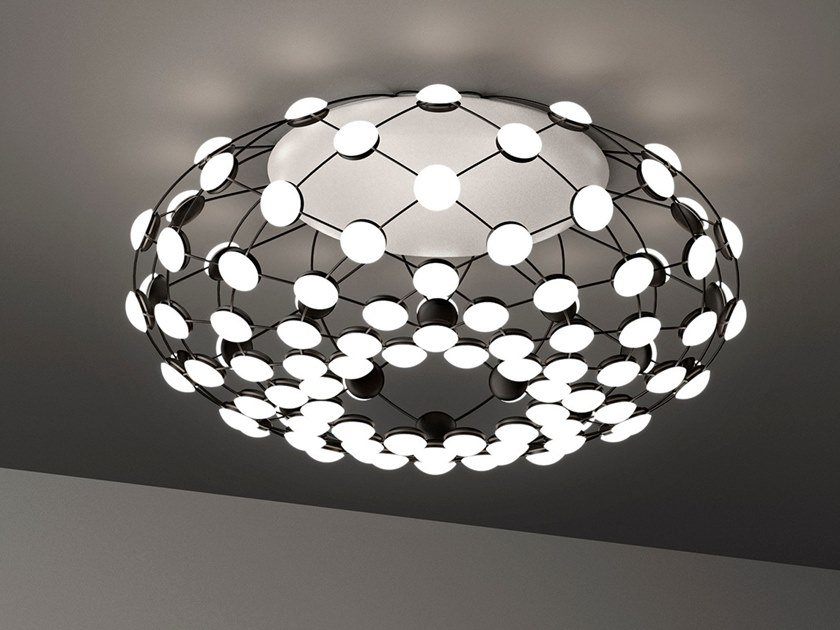 LED polycarbonate and steel ceiling lamp MESH | Ceiling lamp by LUCEPLAN