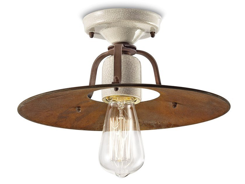 Metal and ceramic ceiling light GRUNGE   Ceiling light by FERROLUCE