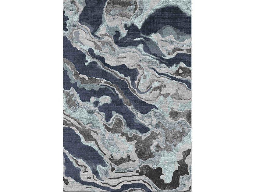 Handmade rug in New Zealand wool and bamboo CELESTINE by Sirecom Tappeti