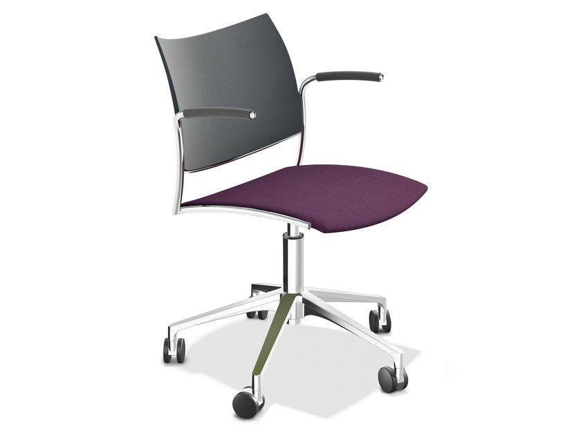 Swivel chair with 5-spoke base with armrests CELLO 1299-10 by Casala