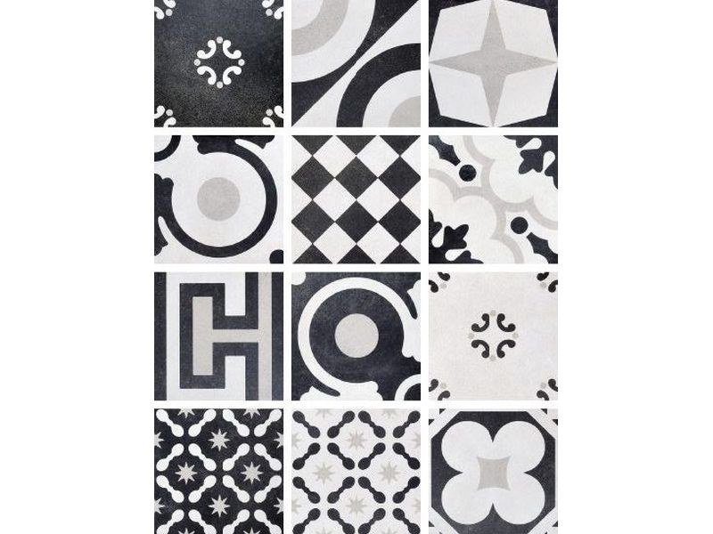 Porcelain stoneware wall/floor tiles CEMENTINE BLACK & WHITE MIX by Ceramica Fioranese