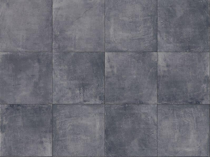 Porcelain stoneware outdoor floor tiles with concrete effect CEMENTO BLACK 3CM by GRANULATI ZANDOBBIO