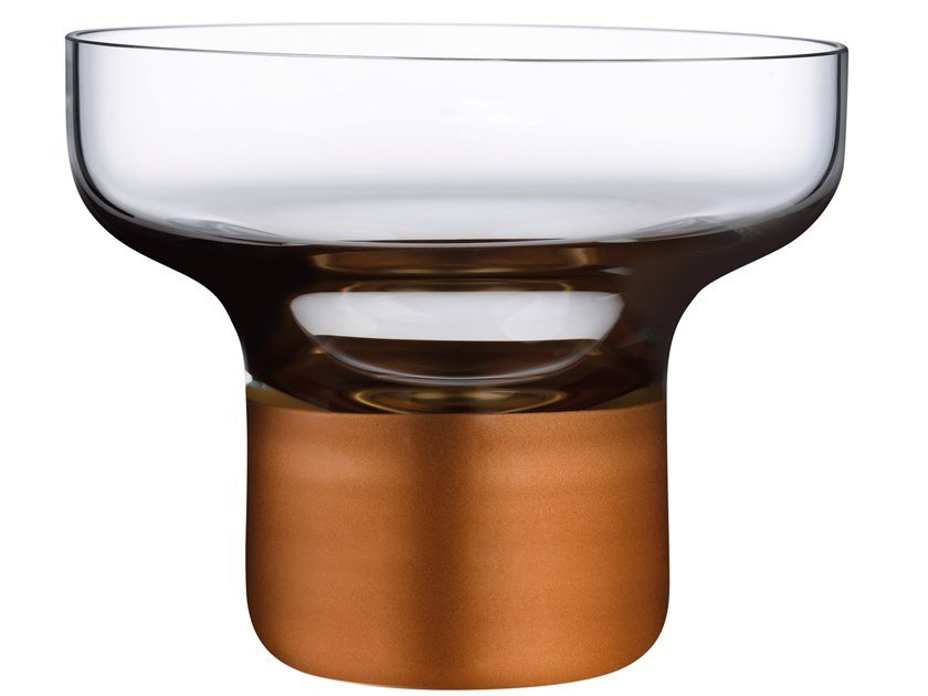High Foot Bowl with Clear Top and Copper Base CONTOUR HIGH FOOT by NUDE