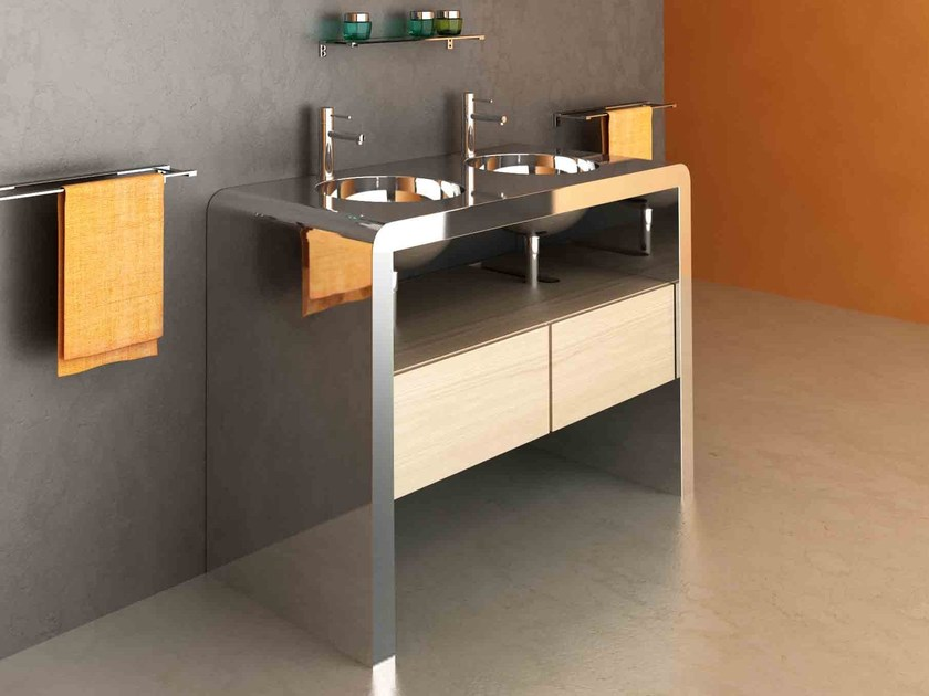 Double stainless steel vanity unit with drawers CENTOTTANTA | Double vanity unit by Componendo