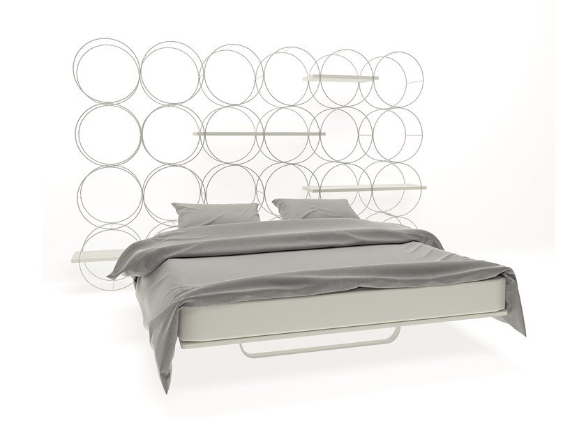 Iron double bed with high headboard CERCHI DUE by Barel