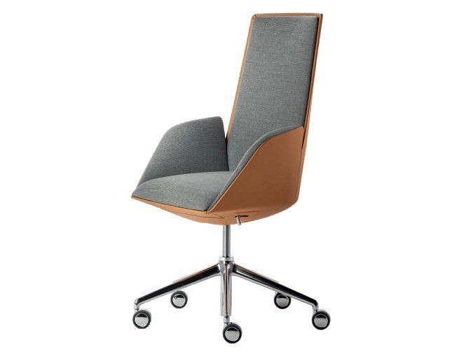 Fabric executive chair with 5-spoke base with castors CERCLE | Fabric executive chair by Poltrona Frau