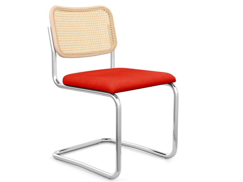 Cantilever Vienna straw and fabric chair CESCA™ by KNOLL